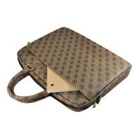 Guess UpTown Bag - луксозна дизайнерска чанта с дръжки и презрамка за преносими компютри до 15 инча (кафява)