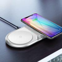 Baseus Dual Wireless Charger - двойна поставка (пад) с Fast Charge технология за безжично зареждане за Qi съвместими устройства (бял)